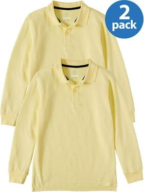 Wonder Nation Boys School Uniform Long Sleeve Double Pique Polo, 2-Pack Value Bundle (Little Boys & Big Boys)
