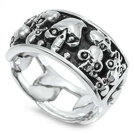 Men's Biker Skull Fashion Ring ( Sizes 7 8 9 10 11 12 13 ) New Solid .925 Sterling Silver Band Rings (Size - Mens Skull Rings