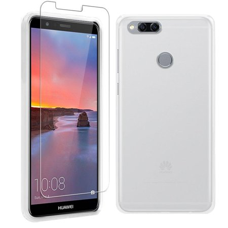 High Supply for Huawei Mate SE Case and Screen Protector, Slim Thin TPU Full Body Matte Back Cover Soft with Clear Bumper, Shockproof Face Protective Film for Huawei Honor 7X, White Frosted White (Face Cover Film)