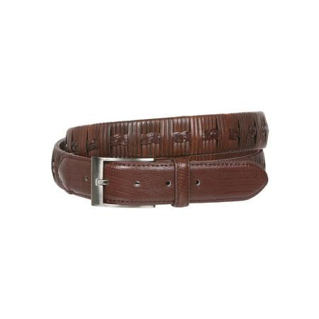 Men's 1 1/4 Inch (34 mm) Embossed Alligator Texture Braided Genuine Leather Dress Belt Alligator Embossed Patent Leather