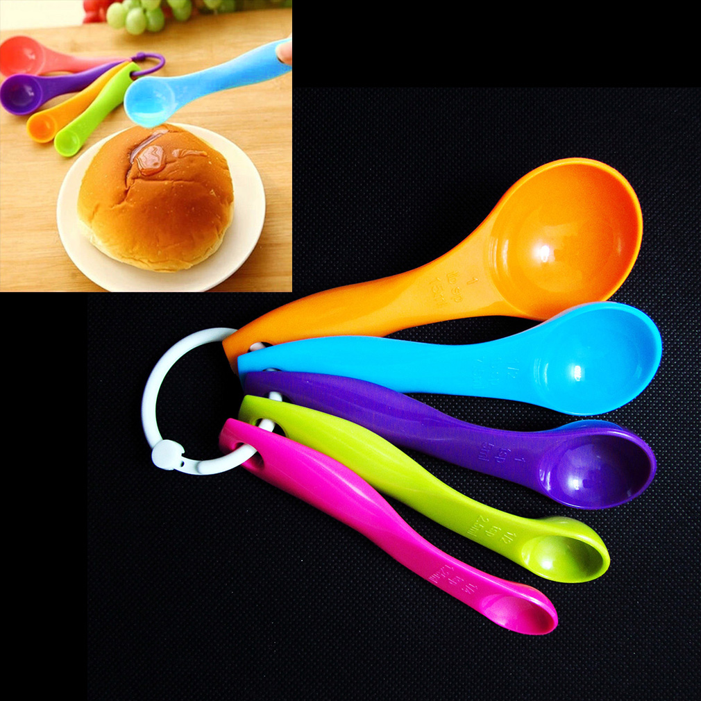 Measuring Spoon Plastic Teaspoon Scoop Tablespoon Utensil Kitchen Tool 5 Pcs
