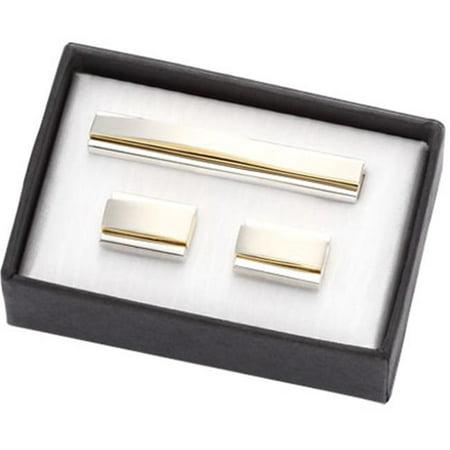 International CUT-21 2 Tone Gold-Silver Metal Cufflinks with Matching Tie Clip in Black Cardboard Gift Box