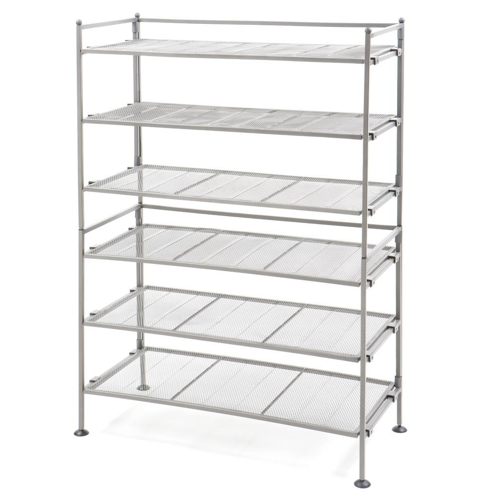 Seville Classics 3-Tier Iron Mesh Utility Shoe Rack, 2-Pack, Satin Pewter