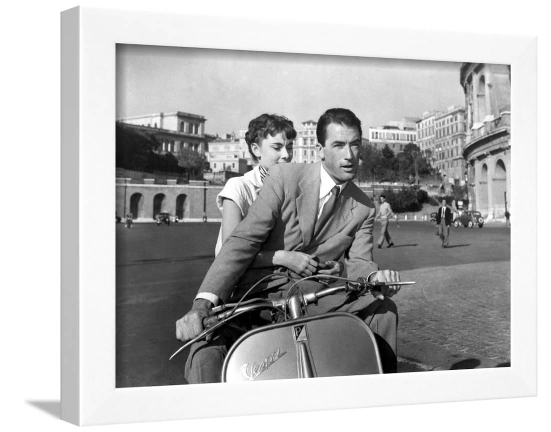 GREGORY PECK AUDREY HEPBURN ROMAN HOLIDAY PRINT ON FRAMED CANVAS WALL ART DECOR