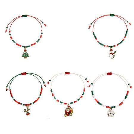 Ustyle Cute Drop Oil Christmas Pendant Bracelet Xmas Decor Home Happy New Year Party Ornaments Women Hand-woven Bangle - image 2 de 9