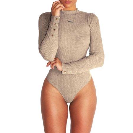 503b10fece Sexy Dance - Women Ladies Bodysuit Stretch Leotard Buttons Sleeve Body Tops  T shirt Turtle Neck Party Jumpsuit - Walmart.com