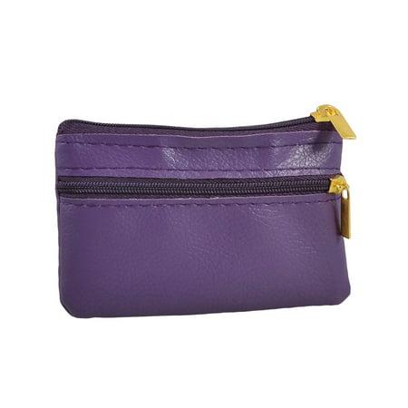 Mini Zipper Bag 2 Compartment Coin Change Purse Wallet Pouch Case Purple