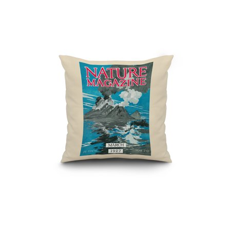 Nature Magazine View of Volcanoes Erupting 18x18 Spun Polyester Pillow