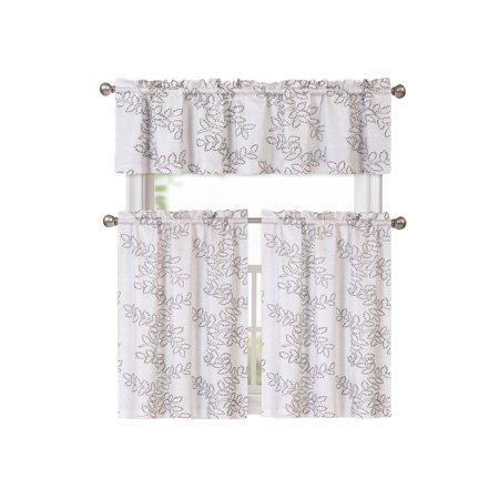 Brielle Embroidered Floral Kitchen Curtain Tier & Swag Set - Grey