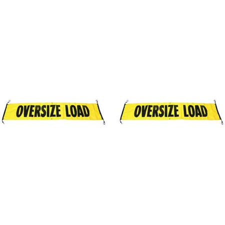 """Image of """"84"""""""" x 18"""""""" Vinyl Wide Load/Oversize Load Banner w/ Bungee Cords - 2 P"""""""