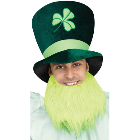 Adults St. Patrick's Day Leprechaun Tall Hat With Light Green Beard Accessory - Leprechaun Beards