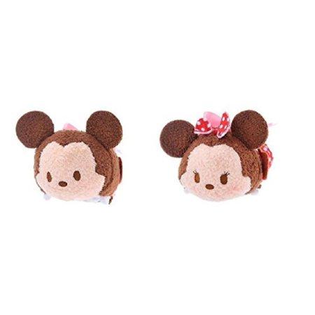 Disney Store Mini Tsum Tsum Valentine Special Edition Set of 2 Mickey Minnie Mouse 3.5†Stuffed Plush Toy (Minnie Mouse Stuff)