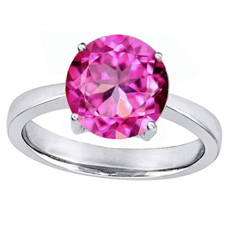 Star K Large Solitaire Big Stone Ring with 10mm Round Created Pink Sapphire