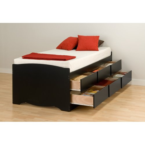 Tall Twin Captain's Platform Storage Bed with 6 Drawers, Black (Box 1 of 2)
