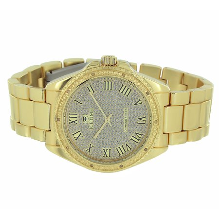 Gold Tone Ice Time Watch Stainless Steel Back Iced Out 01 10Ct Real Diamond Analog Display