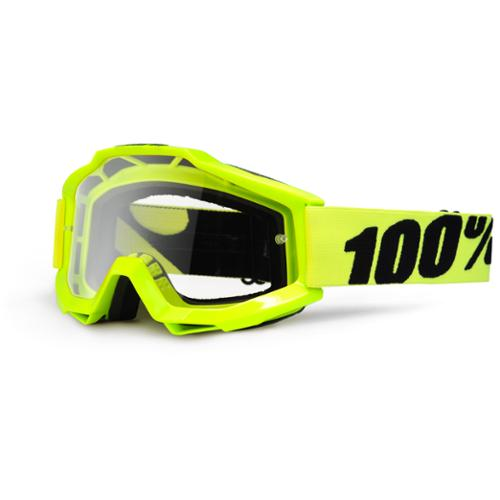 100% Accuri Clear Lens MX Offroad Goggles Yellow