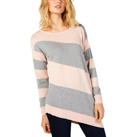 Vince Camuto Womens Striped Ribbed Trim Pullover Sweater Silk Blend Pullover Sweater