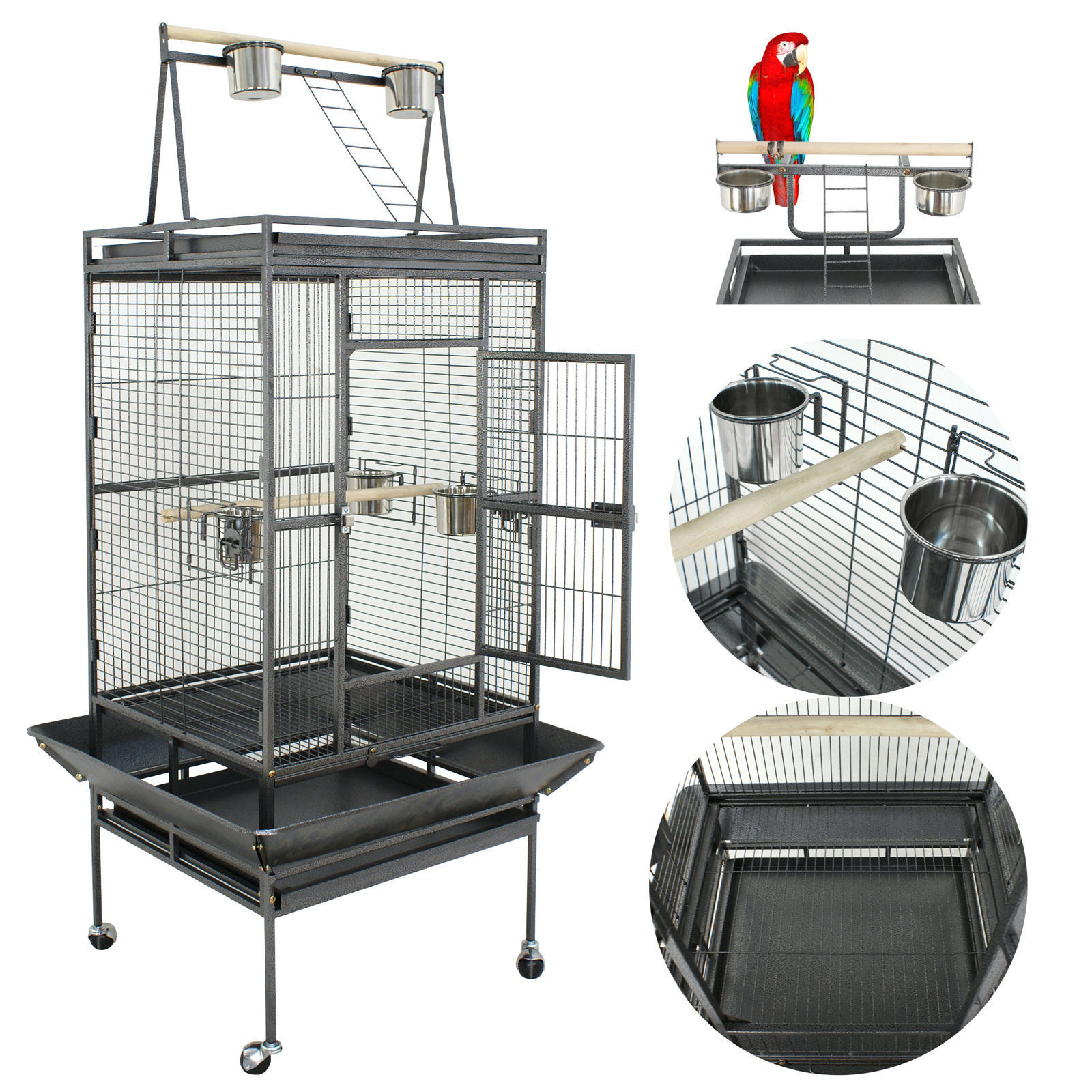 """Zeny 68"""" Bird Cage Play Top Parrot Cockatiels Parakeet Cage Macaw Finch Cockatoo prevue Wrought Iron Flight Cage W/Stand Perch Pet Supplies"""