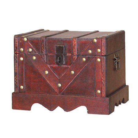(Small Wooden Treasure Box, Old Style Decorative Treasure Chest with Lockable Latch)