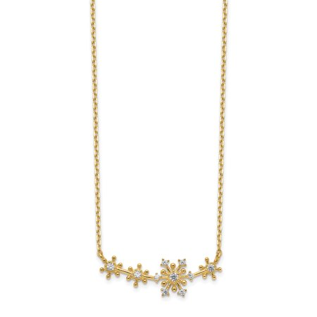 14K Yellow Gold Snowflakes Cubic Zirconia with 2In Extender Necklace