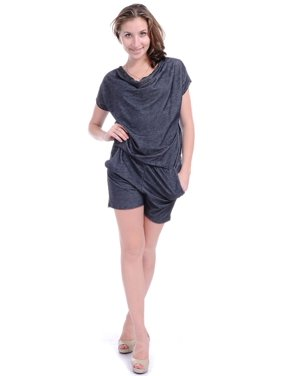 Womens Grey Loose Slouchy Cowl Neck Short Sleeve Romper Shorts
