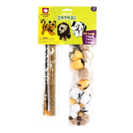 Fibre Craft Creative Hands (Creative Hands by Fibre-Craft – Safari Trio Kit – Safari Colored Fuzzy Stix, Cotton Balls, and Fake Hair – Teaches Creativity – For Arts and Crafts and More – Kit Makes 1 Lion, 1 Tiger, and )
