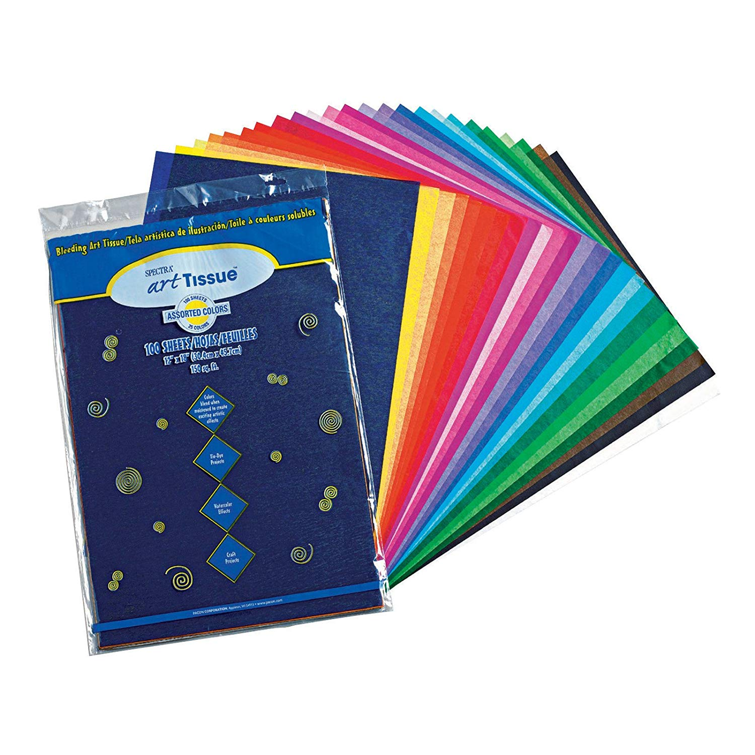 """Spectra(R) Assorted Color Tissue Pack, 12"""" x 18"""", 25 Colors, Pack Of 100 Sheets (59530), Durable tissue paper that won't tear when folded.., By Pacon,USA"""