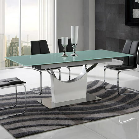 Global furniture frosted glass top dining table in white Frosted glass furniture