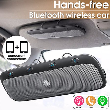 Wireless bluetooth Multipoint Handsfree Speakerphone Kit Car Sun Visor MP3 Player Speakers Hands-free Phone Multi-function Audio Music Receiver Devices + Car Charger + USB (Best Music Player For Windows Phone 2019)