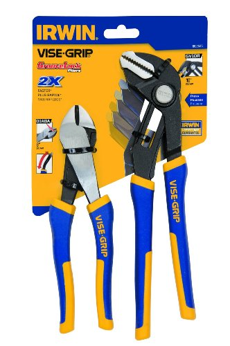 """Vise Grip 1802535 8"""" Diagonal Cutter And Groovelock 10"""" Straight Jaw Plier Set by Vise Grip"""