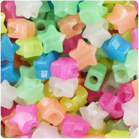 BeadTin Glow Multi 13mm Star Pony Beads (250pcs)](Plastic Star Beads)