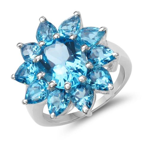 Malaika  7.05 Carat Genuine Swiss Blue Topaz .925 Sterling Silver Ring