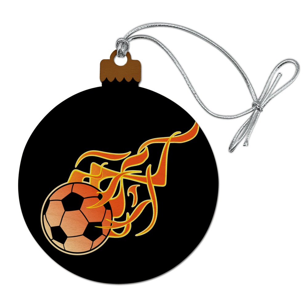 Soccer Ball Football Cartoon Flames Wood Christmas Tree ...
