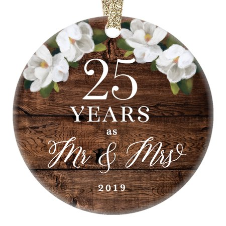 Christmas 2019 Ceramic Collectible Ornament 25th Twenty-Fifth Silver Wedding Anniversary Keepsake Present 25 Twenty-Five Years Married Rustic Floral 3