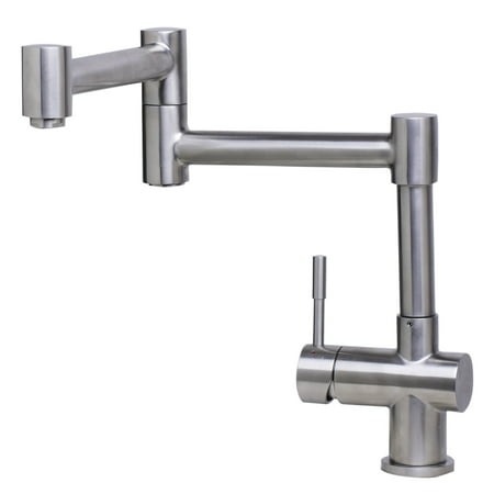 Brushed Stainless Steel Kitchen Faucet (ALFI brand AB2038-BSS Solid Brushed Stainless Steel Retractable Single Hole Kitchen)