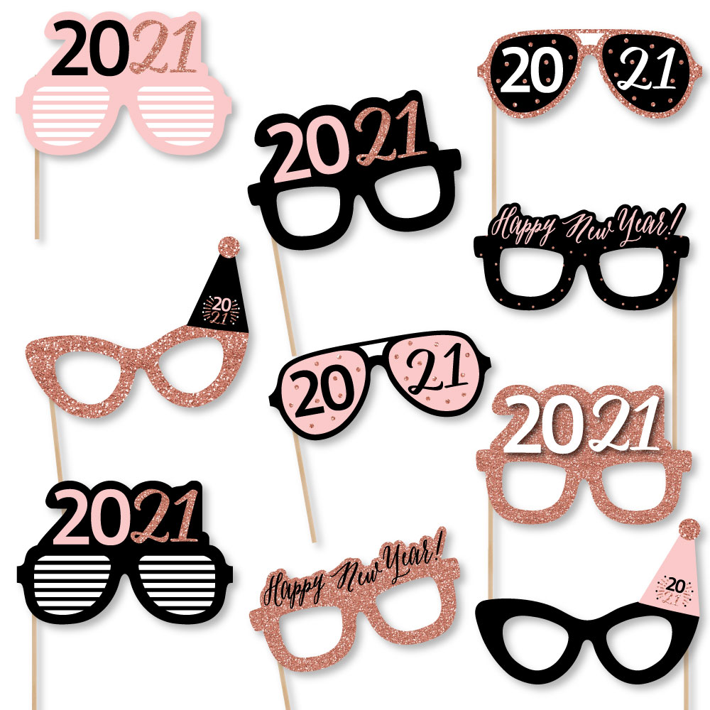 Woman or Man Party Props Party Supplies Happy 40th Birthday Glasses Rose Gold 24-Pack Paper Eye Masks