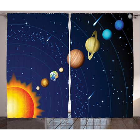 Space Curtains 2 Panels Set, Solar System with Sun Uranus Venus Jupiter Mars Pluto Saturn Neptune Image, Window Drapes for Living Room Bedroom, 108W X 90L Inches, Dark Blue Orange, by
