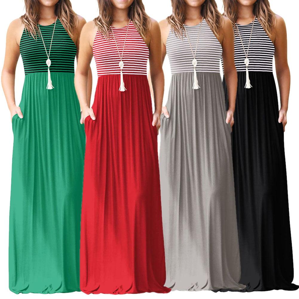 Womens Jumpsuit Pocket Dress Sleeveless Tank Maxi Dress Casual Long Round Neck Slim Sleeveless Stripes Flare Dresses