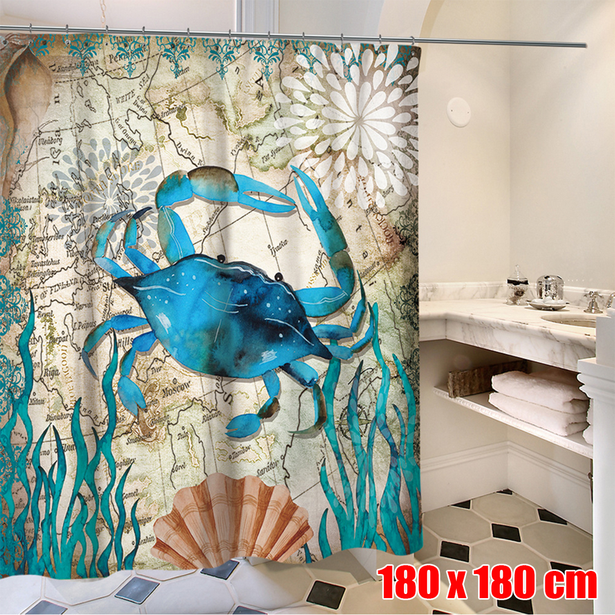 Waterproof Fabric Hooks Bathroom Dinosaur Shower Curtain