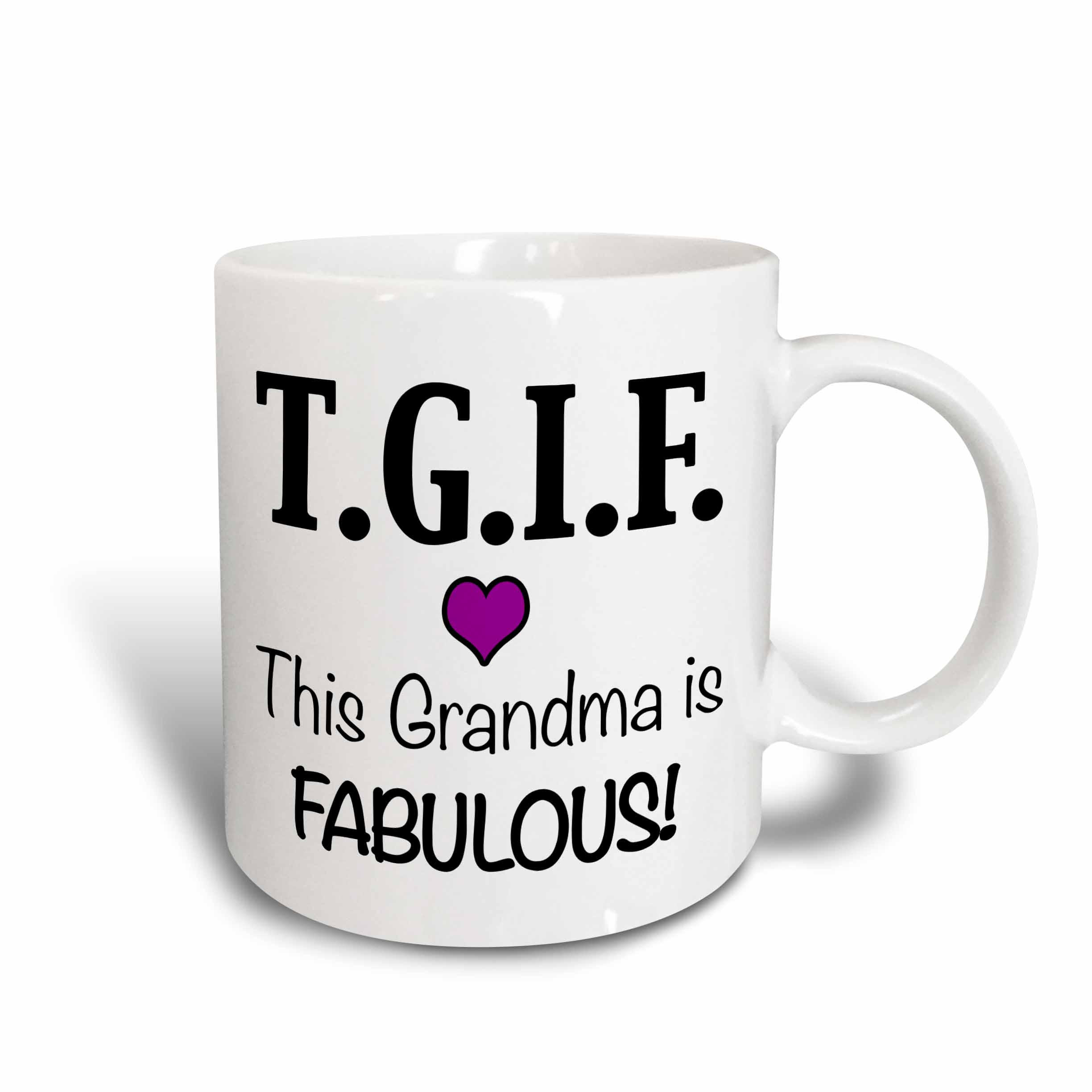 3dRose TGIF This Grandma is Fabulous, Purple, Ceramic Mug, 11-ounce