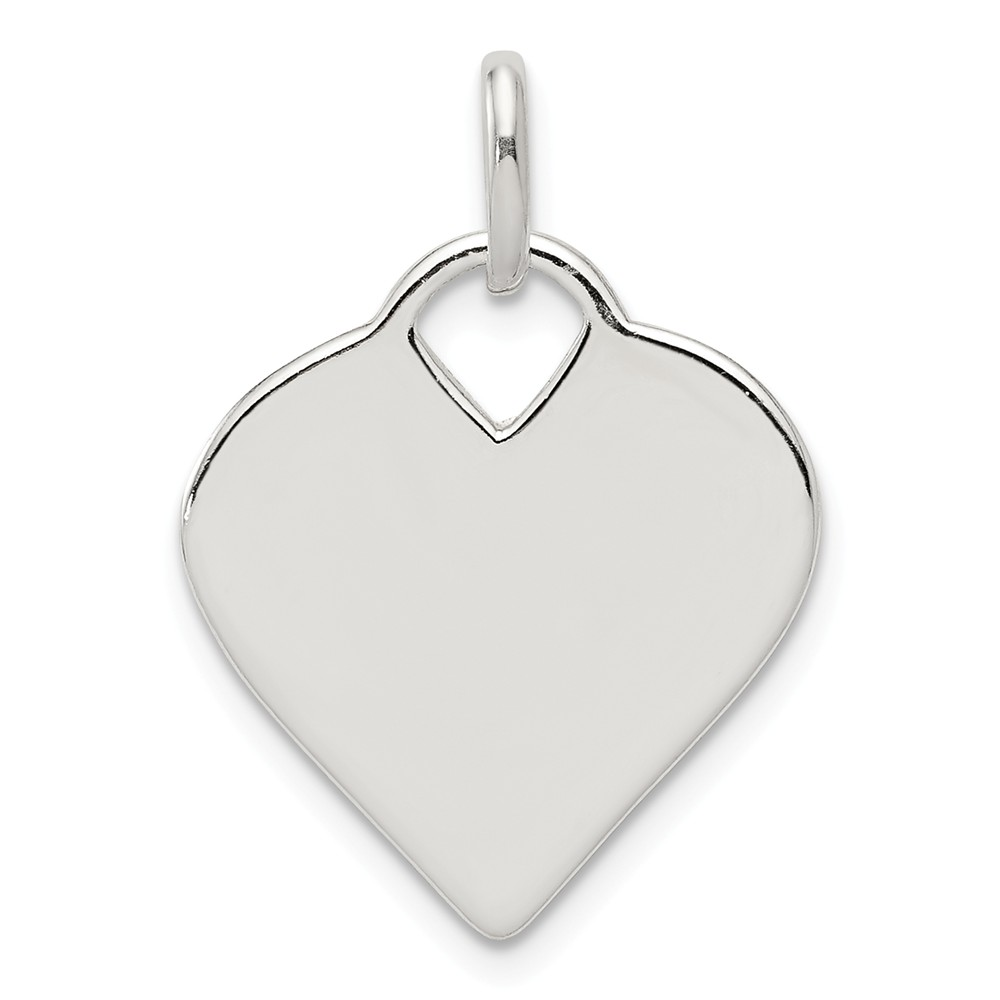 Sterling Silver Engravable Polished Heart Charm (1in long x 0.7in wide)