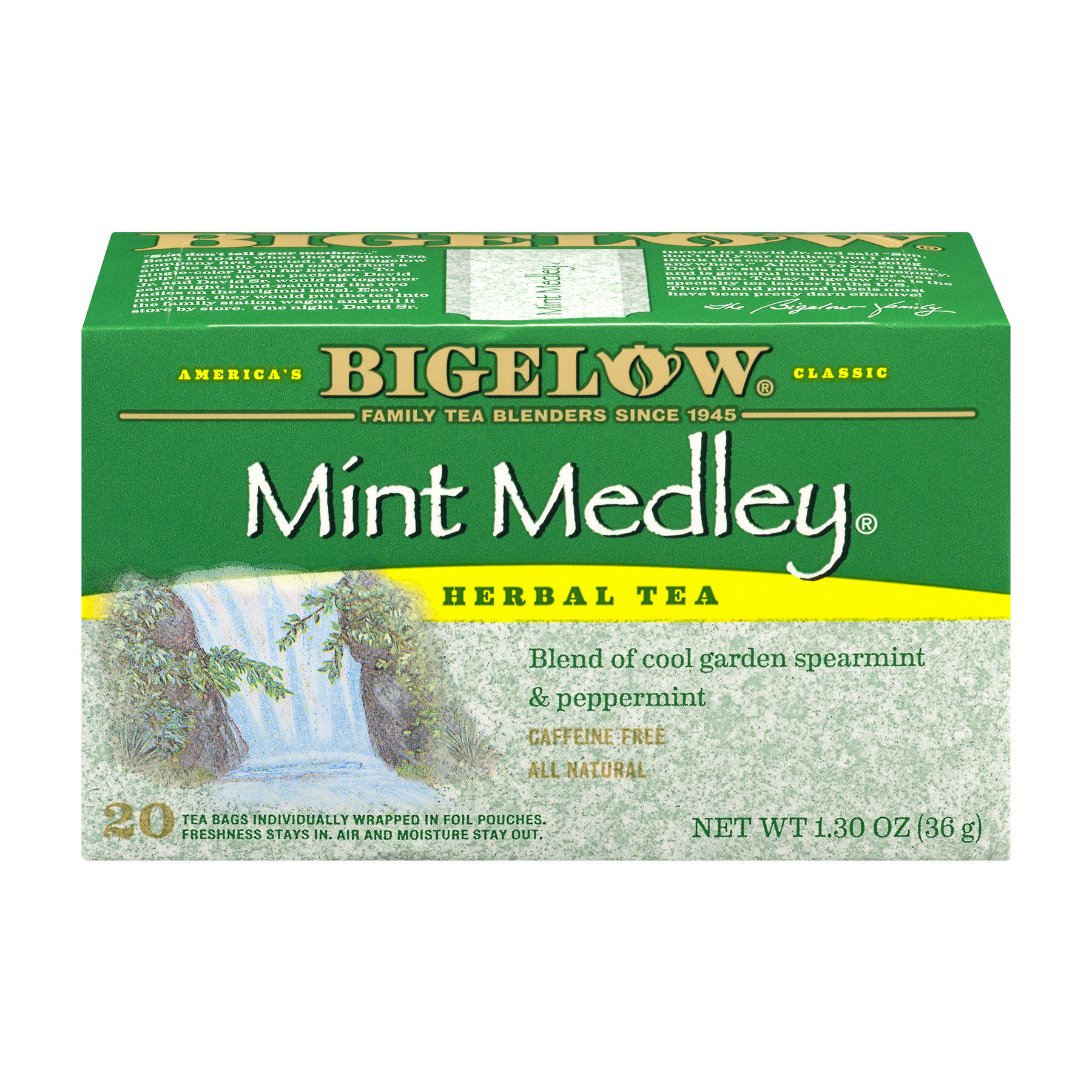 Bigelow Mint Medley All Natural Caffeine Free Herb Tea Bags, 20ct