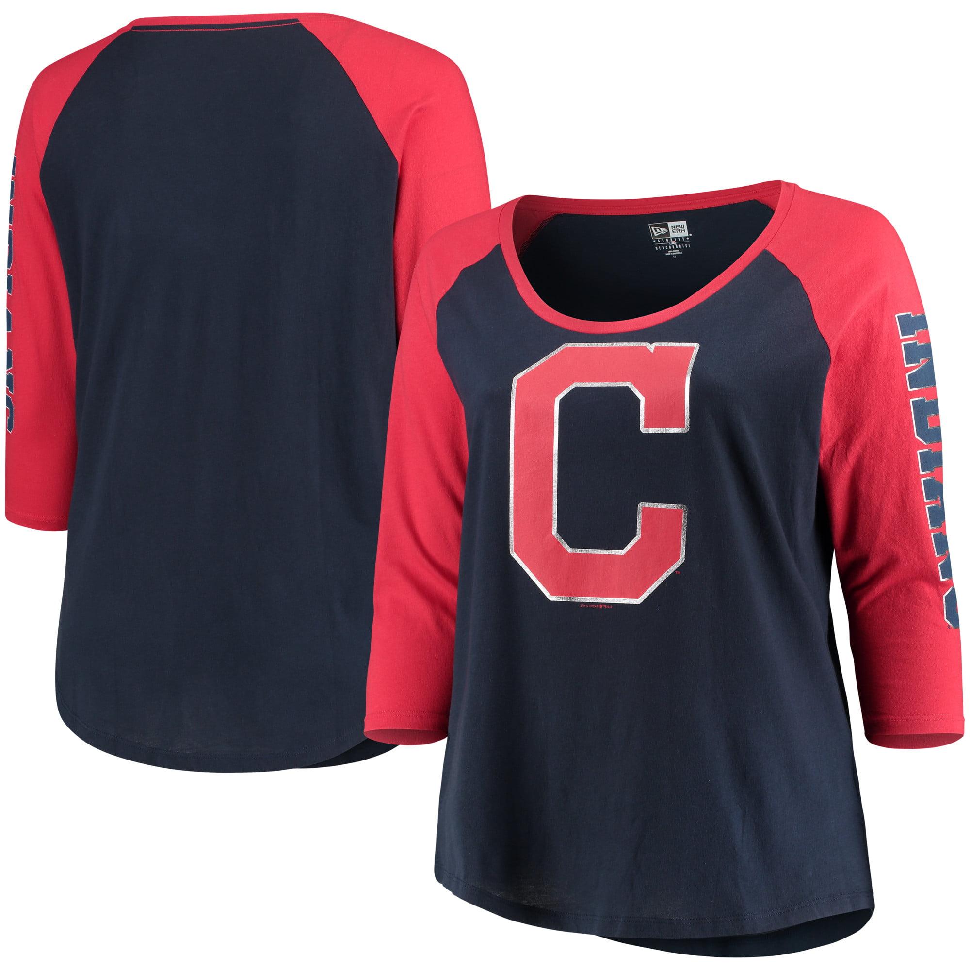 Cleveland Indians 5th   Ocean by New Era Women s Plus Size Foil 3 4-Sleeve  Scoop Neck T-Shirt - Navy Red - Walmart.com a63a6982d