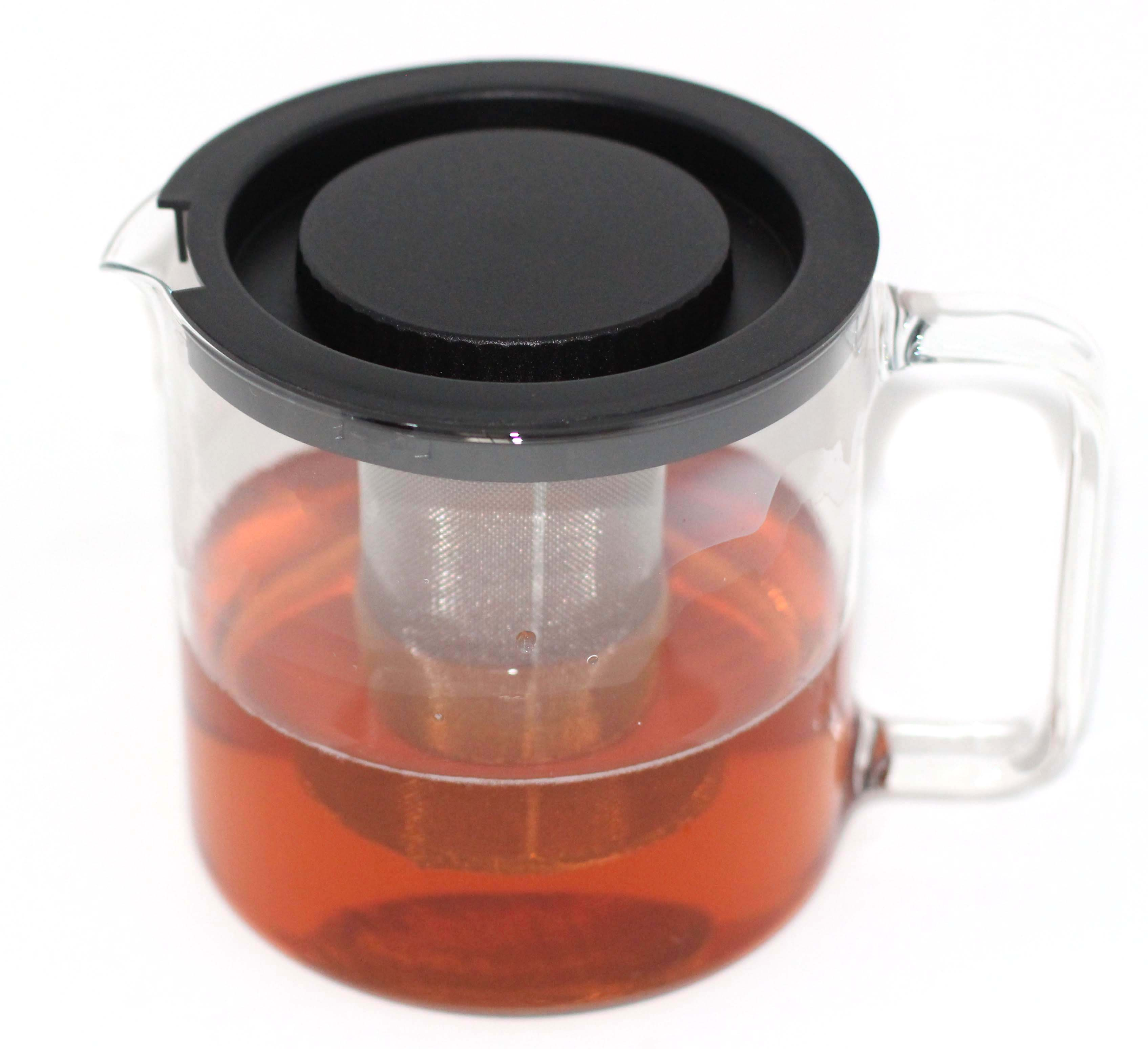 Simax Glassware 1 Quart Teapot with Metal Mesh Infuser | Plastic Lid, Microwave and Stovetop Safe, Heat, Cold, and Thermal Shock Resistant Borosilicate Glass, Makes a Stunning Presentation