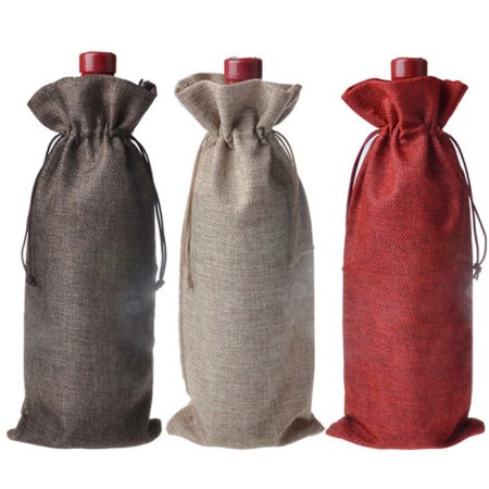 Meigar 5PCS Natural Jute Burlap Vintage Wedding Favours Hessian Wine Bottle Bags Gift Festival Gifts & Party Supplies Gift Packaging Supplies Gift Bags (Fabric Gift Wine Bags)