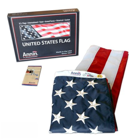 American Flag 3x5 ft. Nylon SolarGuard Nyl-Glo , 100% Made in USA with Sewn Stripes, Embroidered Stars and Brass Grommets.by Annin (American Flag Made Of Baseballs For Sale)