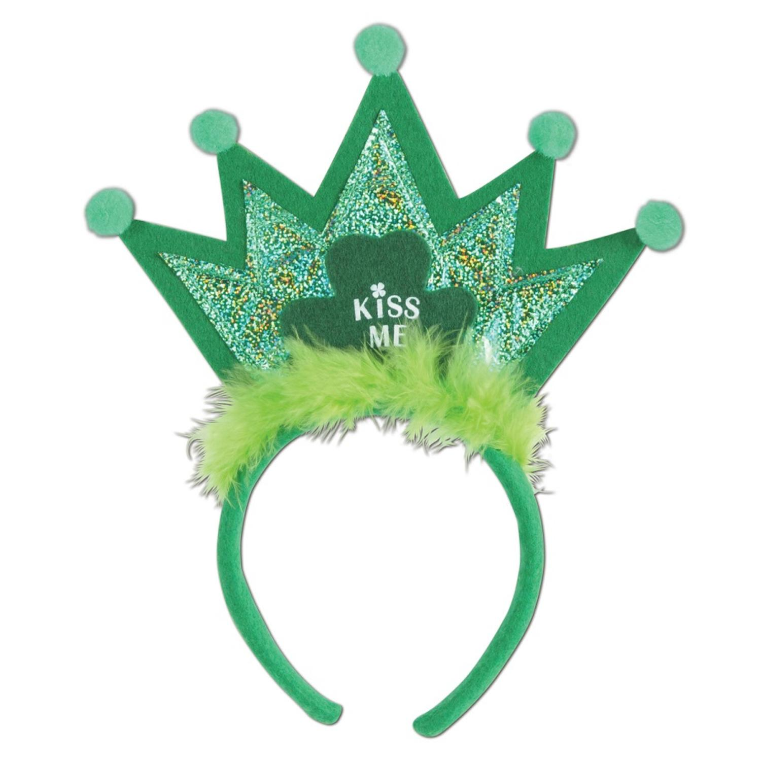 Club Pack of 12 St. Patrick's Day Green Shamrock Tiara Headband Costume Accessories