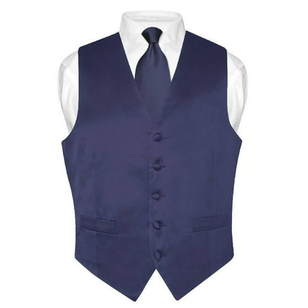 Biagio Men's SILK Dress Vest & NeckTie Solid NAVY BLUE Color Neck Tie Set