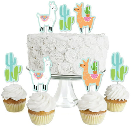 Whole Llama Fun - Dessert Cupcake Toppers - Llama Fiesta Baby Shower or Birthday Party Clear Treat Picks - Set of - Llama Birthday