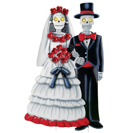 Skeleton Bride and Groom Lighted Garden Stake, Outdor Halloween Décor with Hand Painted Details